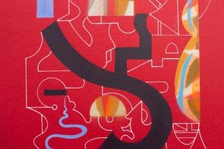 """Detalle de obra. Díptico """"Dos cuentos antiguos"""". Acrílico (Spray y tinta) sobre papel Canson. 21,5 x 32,9 cm. 2018 – 2021"""
